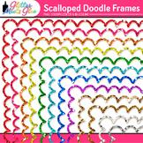 Oodles of Glittery Doodles Frame Border Clip Art [SCALLOPED]