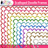 Oodles of Glittery Doodles Frame Border Clip Art [SCALLOPED]