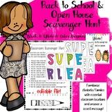 Open House Scavenger Hunt Back to School Activity
