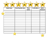 Open House Sign In Sheet star or hollywood theme