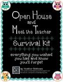 Open House and Meet the Teacher Event Survival Kit - Owls theme