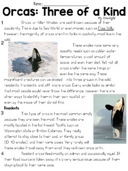 Orcas: Three of a Kind Text and Question Set - FSA-Style ELA Assessment