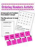 Ordering Numbers Activity - decimals & negatives