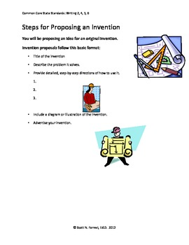 Original Invention Creative Writing Project:Plan, Propose,