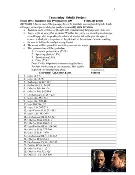 Literature - Othello: Translating Othello Project
