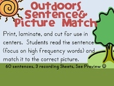 Outdoors High Frequency Word Picture-Sentence Match