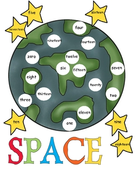 Outer Space Number  Word Mat
