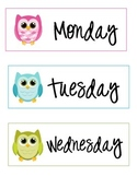 Owl Days of The Week Labels Monday through Friday