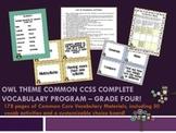 Owl Theme Grade Four CCSS Complete Vocabulary Program