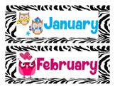 Artsy Teacher Cafe - Class Calendar Headers * Zebra Owl Theme *