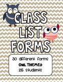 Owl Themed Class Lists for 25 Students
