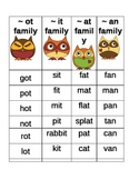 Owl Word Families Center