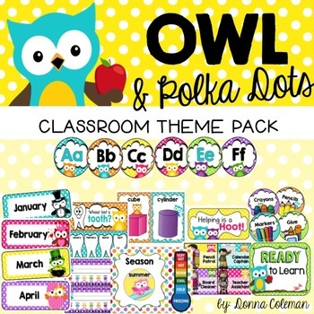 Owl Classroom Decor Theme Pack - Owl and Polka Dots {Editable}