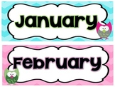 Owls and Chevron Calendar Headings and Numbers