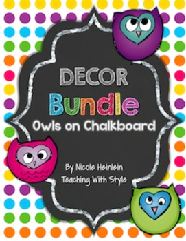 Owls on Chalkboard Decor Bundle