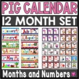 PIGS -CALENDAR NUMBERS and MONTHS COMPLETE SET