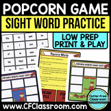 POPCORN GAME for SIGHT WORD PRACTICE