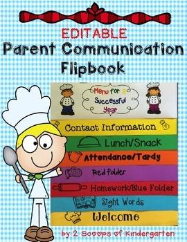 Parent Communication Flipbook (Editable) Recipe for Success theme