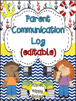Parent Communication Log ~ Nautical (Editable)