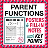 Parent Function Graph Posters with Domain Range and Primar