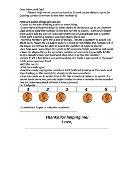 Parent Letter to Help Student Learn Numbers 1-20