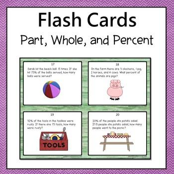 Percent Problems Task Cards Common Core  6.RP.3C