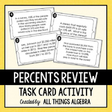Percent Word Problems: Task Cards