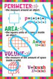Perimeter, Area and Volume Math Poster