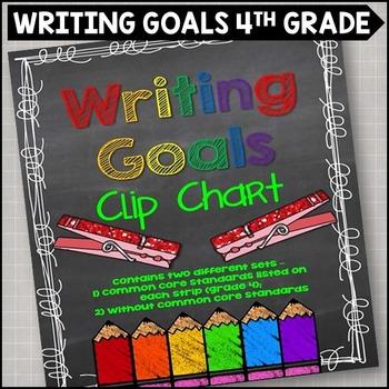 Personal Writing Goals Clip Chart - Grade 4