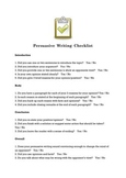 Persuasive Writing Checklist