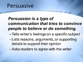 Persuasive Writing PowerPoint Presentation