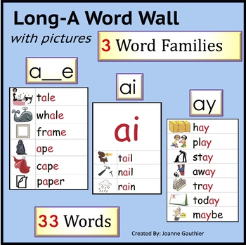 Long A: illustrated Phonics Word Wall
