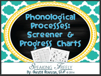 Phonological Processes Screen & Progress Charts with Pictures!