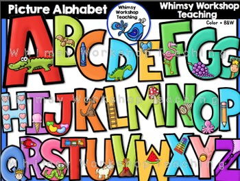 Picture Alphabet (With Phonics Images) Clip Art - Whimsy Workshop Teaching