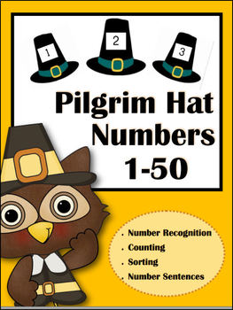 Pilgrim Hat Number Cards (1-50)