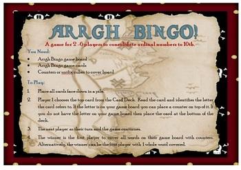 Pirate Ordinal Number Bingo
