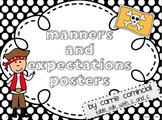 Pirates Manners and Expectations Posters (Red and Black Theme)