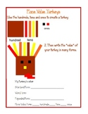 Place Value and Decimal Turkey Thanksgiving Craftivity