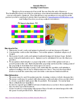 Place Value of 2 Digit Numbers Learning Center Game