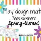Play dough mats - teen numbers - spring themed - print font