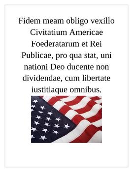 Pledge of Allegiance in Latin mini-poster