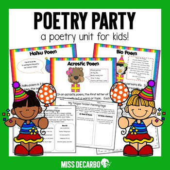 Poetry Party Poetry Unit