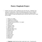 Poetry Project - Poetic Devices - Chapbook Project