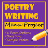 Poetry Writing Menu Project (6 Poem Options)