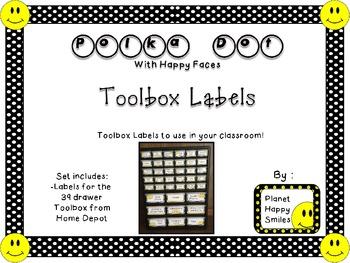 Teacher Toolbox Labels ~ Polka Dot Print B/W with Happy Faces (Fon