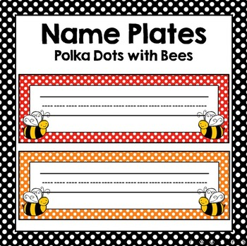 Polka Dot w/ Bees Name Plates