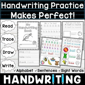 Handwriting Workbook Read, Trace, Write, Draw! Practice Makes Perfect!
