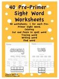 Pre-Primer Sight Word Worksheets