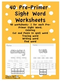Pre-Primer Sight Word Worksheets