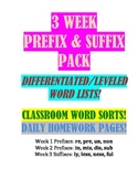 Prefix & Suffix Pack--Leveled Lists, Classroom Activities